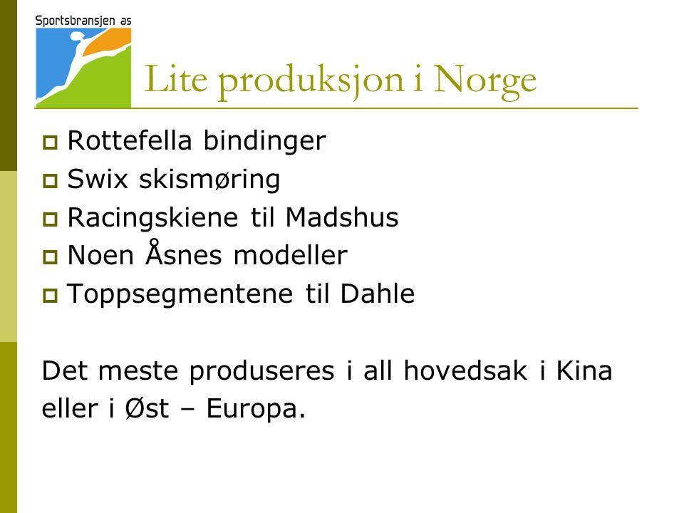 Lite produksjon i Norge  Rottefella bindinger  Swix skismøring  Racingskiene til Madshus  Noen Åsnes modeller  Toppsegmentene til Dahle Det meste produseres i all hovedsak i Kina eller i Øst – Europa.