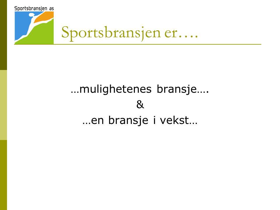Sportsbransjen er…. …mulighetenes bransje…. & …en bransje i vekst…
