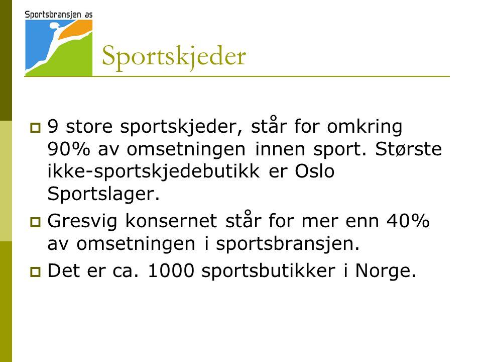 Sportskjeder  9 store sportskjeder, står for omkring 90% av omsetningen innen sport.