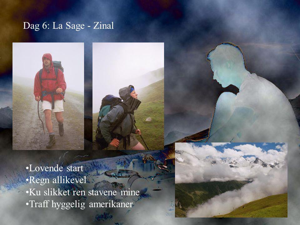 Dag 6: La Sage - Zinal •Lovende start •Regn allikevel •Ku slikket ren stavene mine •Traff hyggelig amerikaner