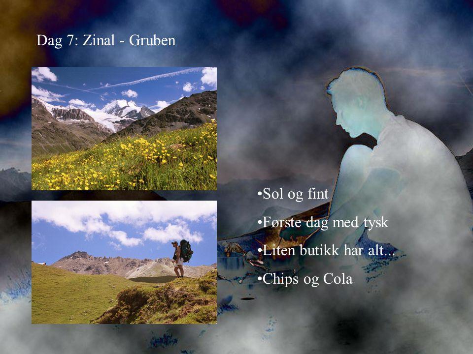 Dag 7: Zinal - Gruben •Sol og fint •Første dag med tysk •Liten butikk har alt... •Chips og Cola