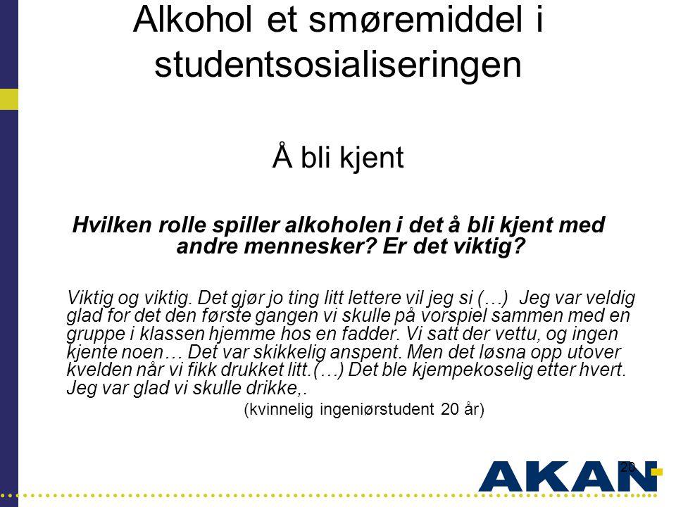 …………………………………………………………………………..... 20 Alkohol et smøremiddel i studentsosialiseringen Å bli kjent Hvilken rolle spiller alkoholen i det å bli kjent med