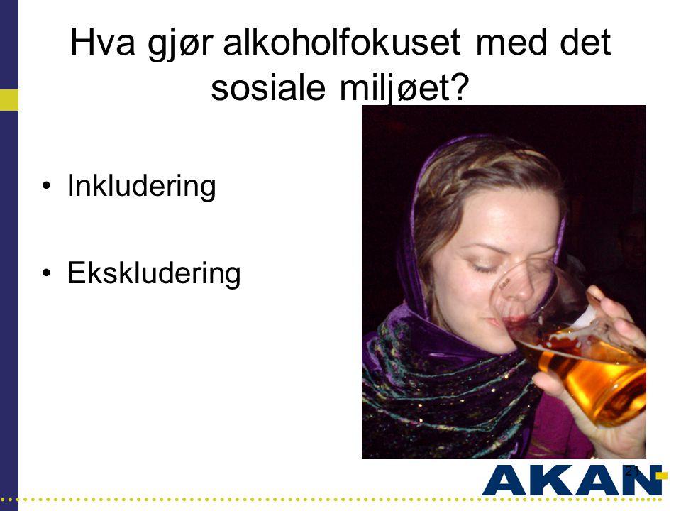 …………………………………………………………………………..... 21 Hva gjør alkoholfokuset med det sosiale miljøet? •Inkludering •Ekskludering