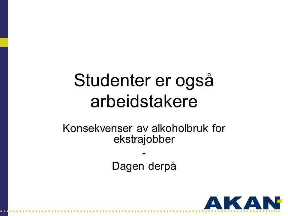 …………………………………………………………………………..... 22 Studenter er også arbeidstakere Konsekvenser av alkoholbruk for ekstrajobber - Dagen derpå