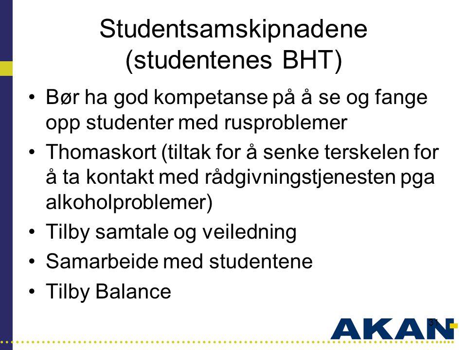 …………………………………………………………………………..... 31 Studentsamskipnadene (studentenes BHT) •Bør ha god kompetanse på å se og fange opp studenter med rusproblemer •Th