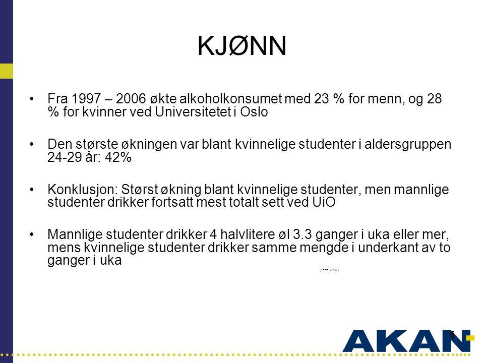 …………………………………………………………………………..... 6 KJØNN •Fra 1997 – 2006 økte alkoholkonsumet med 23 % for menn, og 28 % for kvinner ved Universitetet i Oslo •Den s