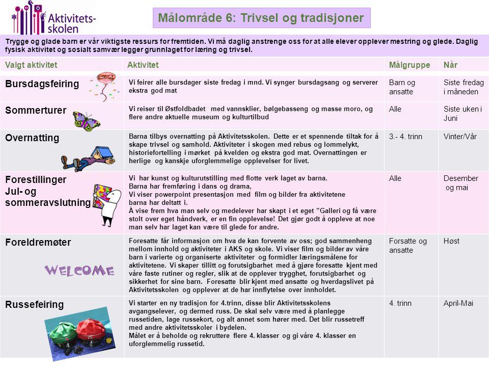 Målområde 6: Trivsel og tradisjoner Trygge og glade barn er vår viktigste ressurs for fremtiden. Vi må daglig anstrenge oss for at alle elever oppleve