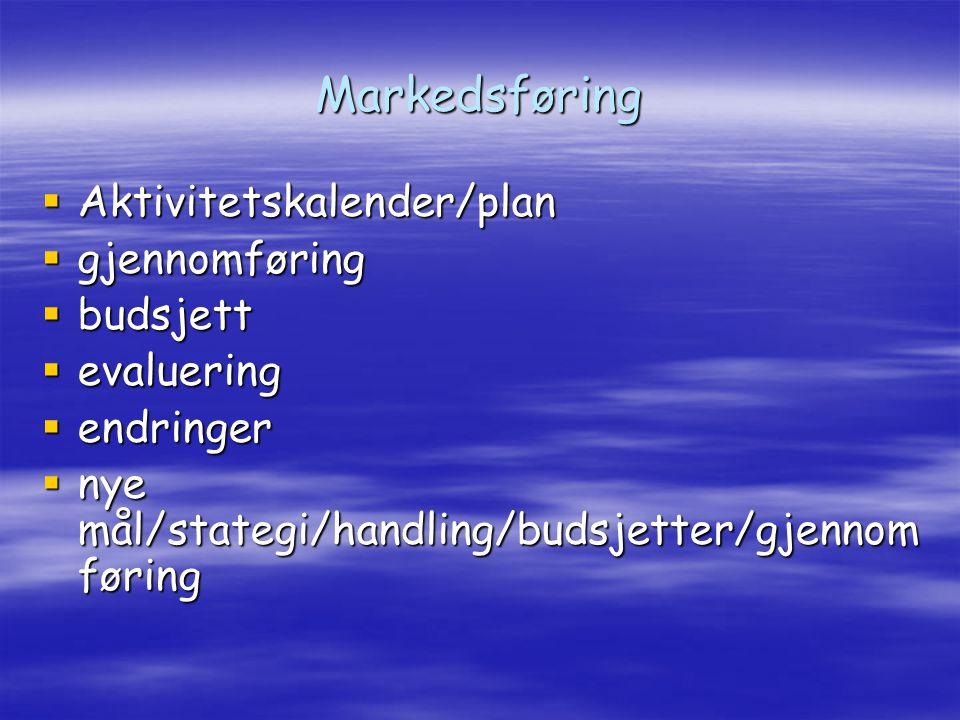 Markedsføring  Aktivitetskalender/plan  gjennomføring  budsjett  evaluering  endringer  nye mål/stategi/handling/budsjetter/gjennom føring
