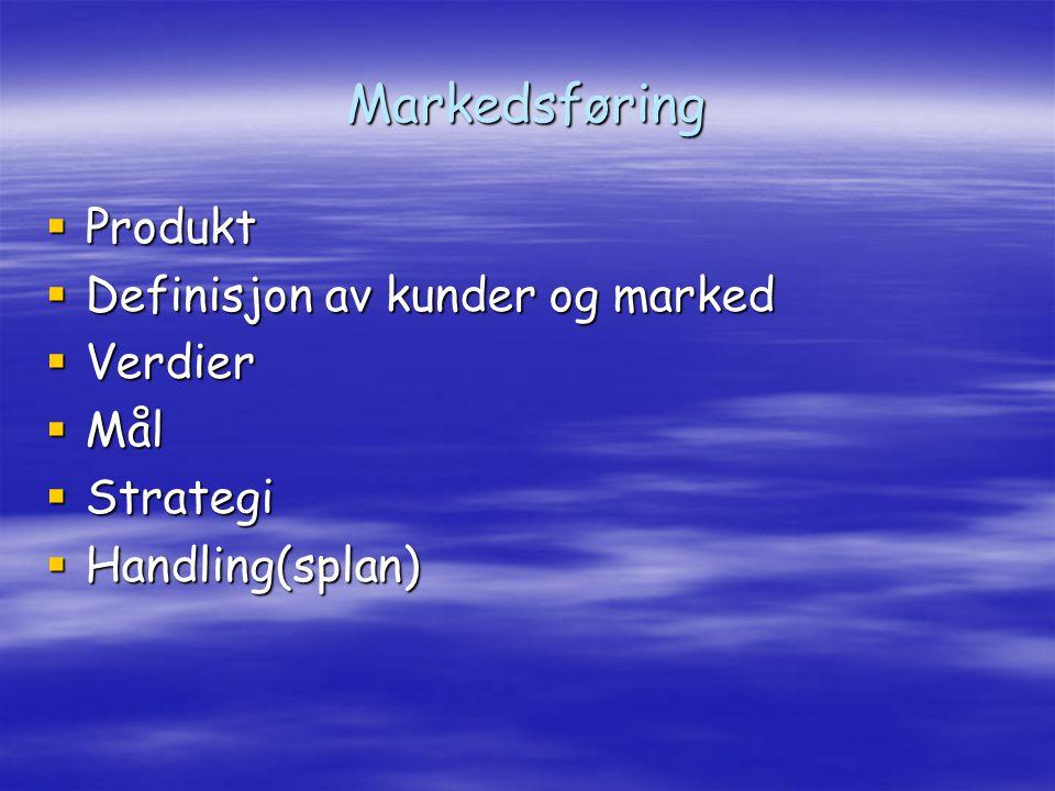 Markedsføring  Produkt  Definisjon av kunder og marked  Verdier  Mål  Strategi  Handling(splan)