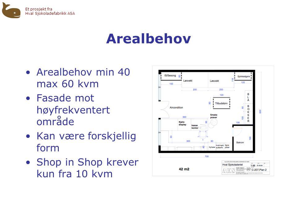 Et prosjekt fra Hval Sjokoladefabrikk ASA Arealbehov •Arealbehov min 40 max 60 kvm •Fasade mot høyfrekventert område •Kan være forskjellig form •Shop in Shop krever kun fra 10 kvm