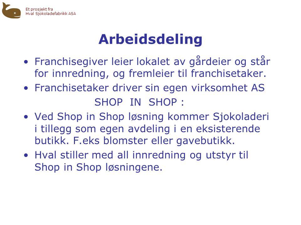 Et prosjekt fra Hval Sjokoladefabrikk ASA Arbeidsdeling •Franchisegiver leier lokalet av gårdeier og står for innredning, og fremleier til franchisetaker.