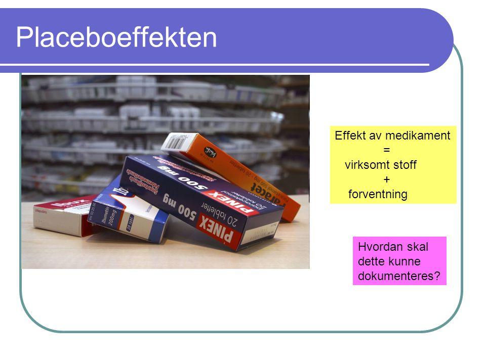 Placeboeffekten Effekt av medikament = virksomt stoff + forventning Hvordan skal dette kunne dokumenteres?
