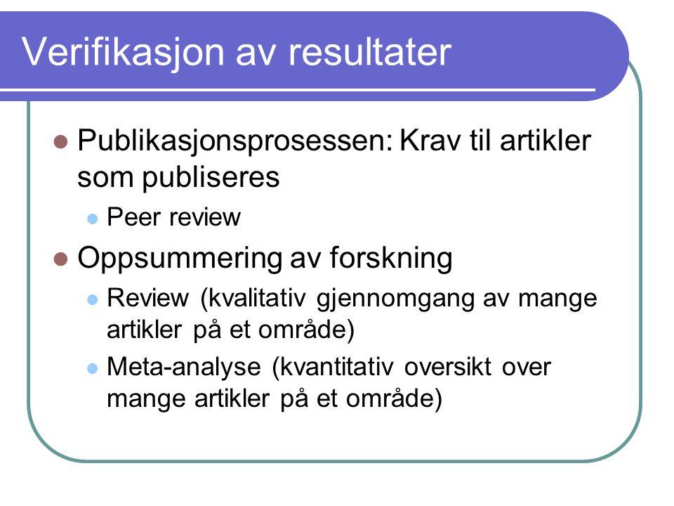 Verifikasjon av resultater  Publikasjonsprosessen: Krav til artikler som publiseres  Peer review  Oppsummering av forskning  Review (kvalitativ gj