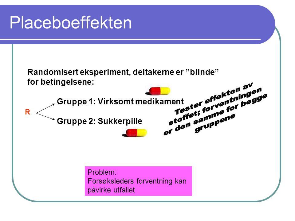"""Placeboeffekten Randomisert eksperiment, deltakerne er """"blinde"""" for betingelsene: Gruppe 1: Virksomt medikament Gruppe 2: Sukkerpille R Problem: Forsø"""