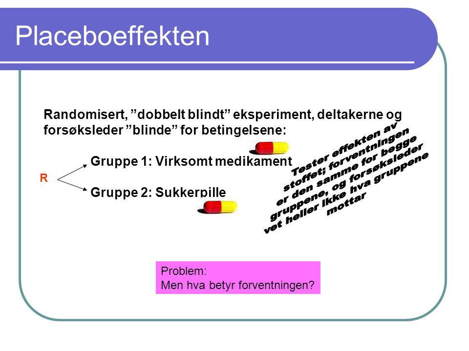 """Placeboeffekten Randomisert, """"dobbelt blindt"""" eksperiment, deltakerne og forsøksleder """"blinde"""" for betingelsene: Gruppe 1: Virksomt medikament Gruppe"""
