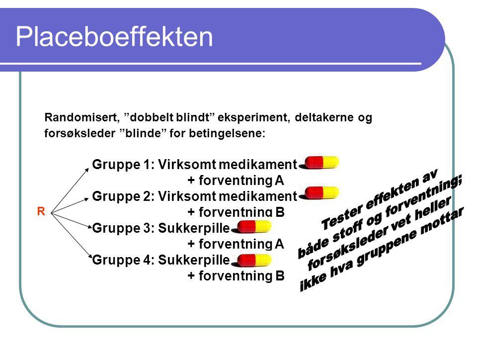 """Placeboeffekten Randomisert, """"dobbelt blindt"""" eksperiment, deltakerne og forsøksleder """"blinde"""" for betingelsene: Gruppe 1: Virksomt medikament + forve"""