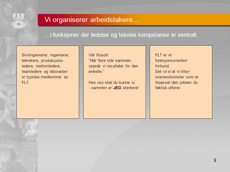 5 Vi organiserer arbeidstakere…...i funksjoner der ledelse og teknisk kompetanse er sentralt.