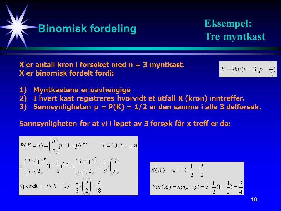 10 Binomisk fordeling X er antall kron i forsøket med n = 3 myntkast.