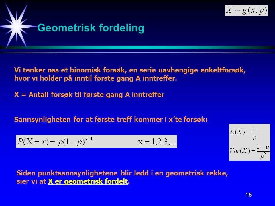 15 Geometrisk fordeling Vi tenker oss et binomisk forsøk, en serie uavhengige enkeltforsøk, hvor vi holder på inntil første gang A inntreffer. X = Ant