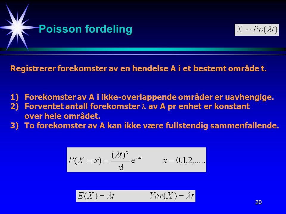 20 Poisson fordeling Registrerer forekomster av en hendelse A i et bestemt område t. 1)Forekomster av A i ikke-overlappende områder er uavhengige. 2)F
