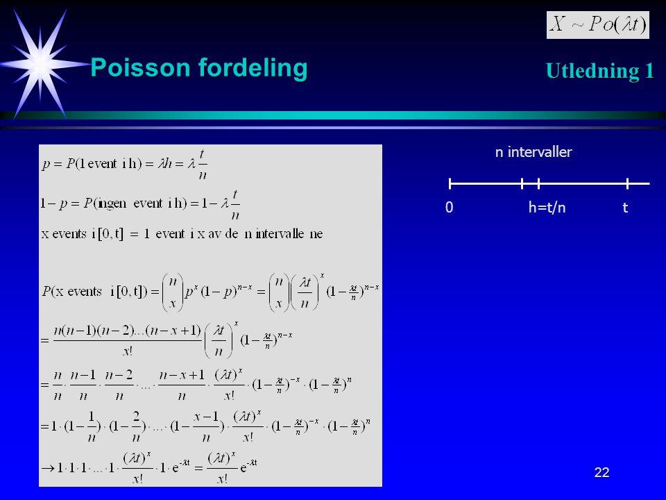 22 Poisson fordeling 0th=t/n n intervaller Utledning 1