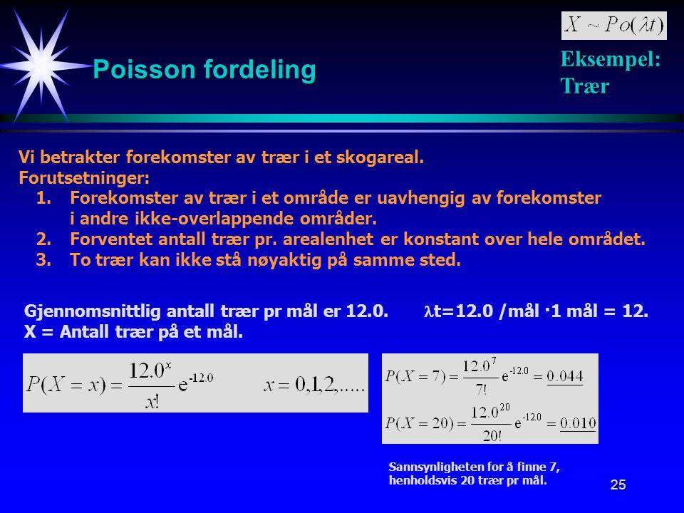 25 Poisson fordeling Eksempel: Trær Vi betrakter forekomster av trær i et skogareal. Forutsetninger: 1.Forekomster av trær i et område er uavhengig av