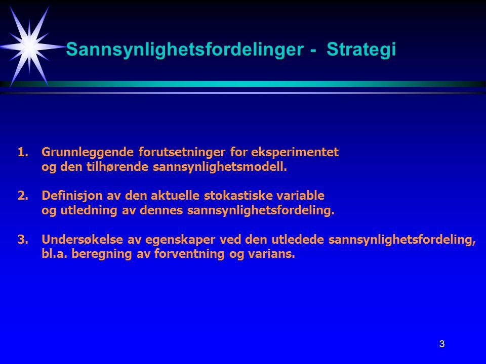 3 Sannsynlighetsfordelinger - Strategi 1.Grunnleggende forutsetninger for eksperimentet og den tilhørende sannsynlighetsmodell. 2.Definisjon av den ak