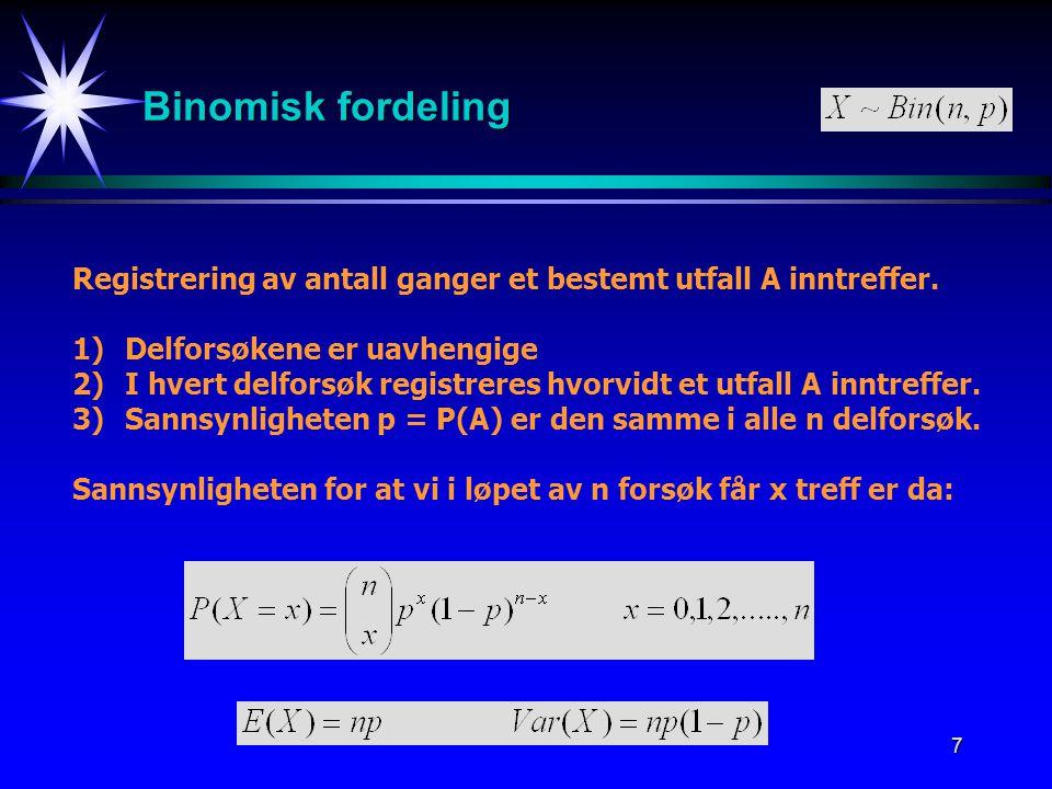 7 Binomisk fordeling Registrering av antall ganger et bestemt utfall A inntreffer. 1)Delforsøkene er uavhengige 2)I hvert delforsøk registreres hvorvi