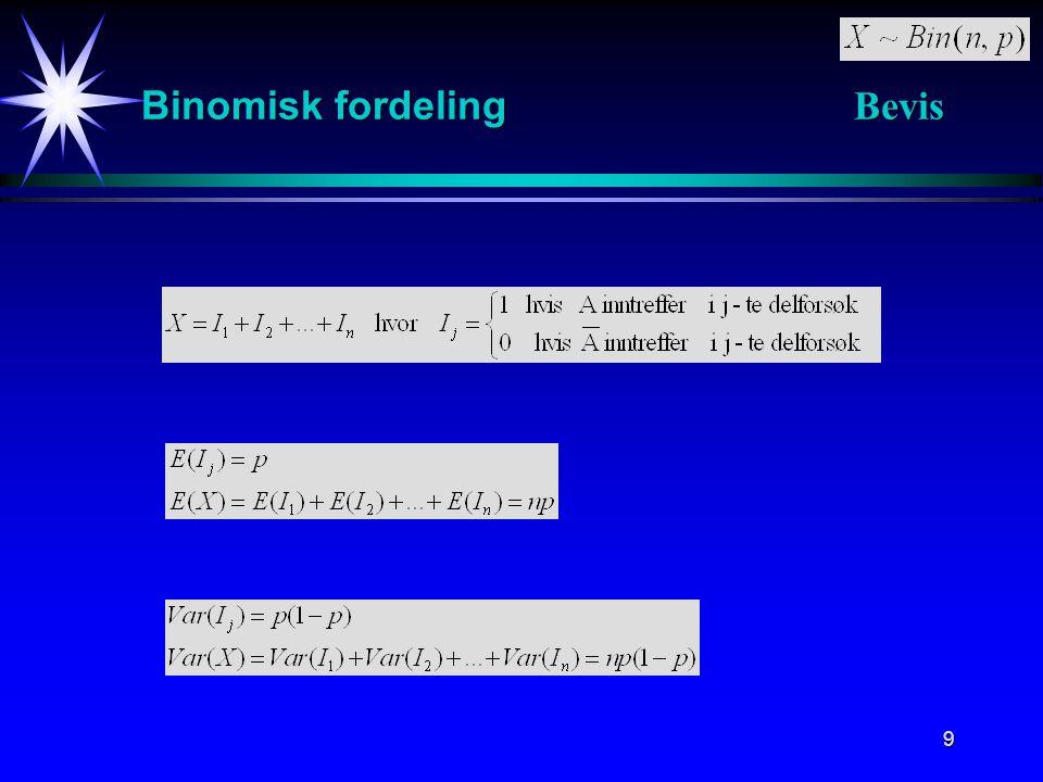 20 Poisson fordeling Registrerer forekomster av en hendelse A i et bestemt område t.