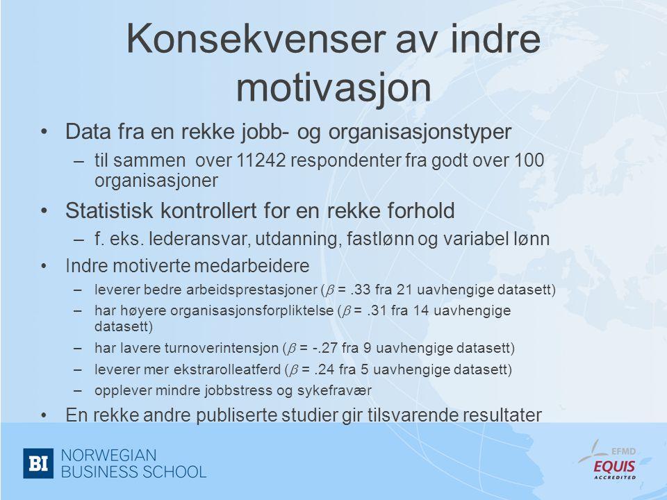 Konsekvenser av indre motivasjon •Data fra en rekke jobb- og organisasjonstyper –til sammen over 11242 respondenter fra godt over 100 organisasjoner •
