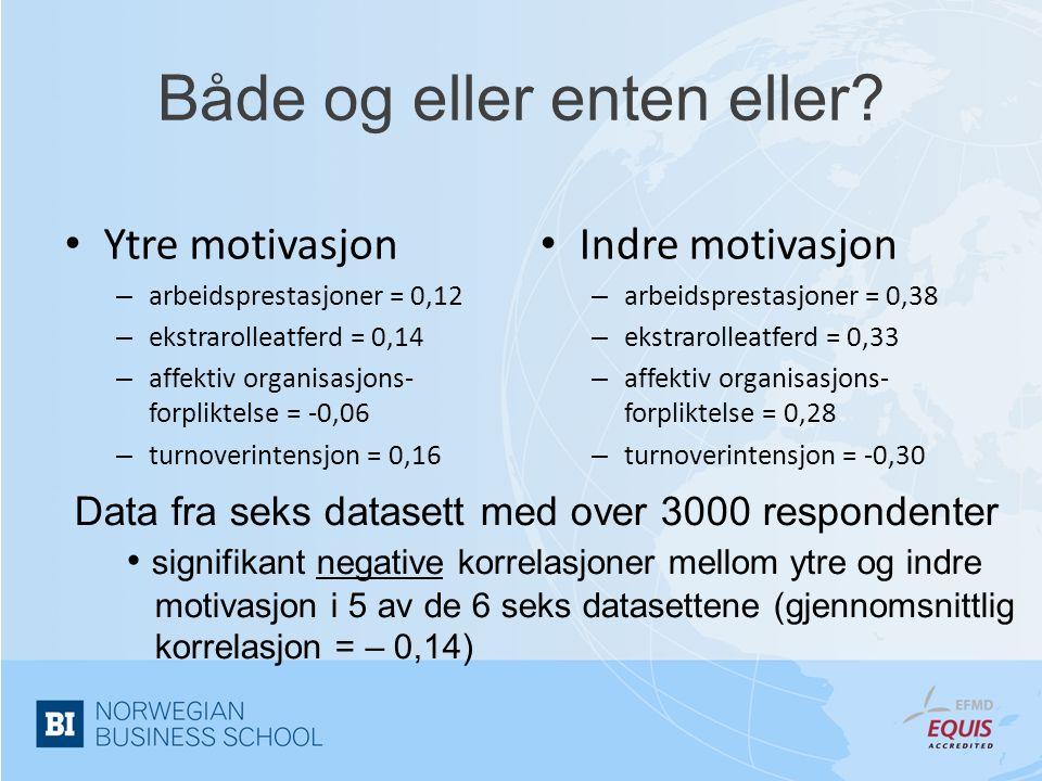 Både og eller enten eller? • Ytre motivasjon – arbeidsprestasjoner = 0,12 – ekstrarolleatferd = 0,14 – affektiv organisasjons- forpliktelse = -0,06 –