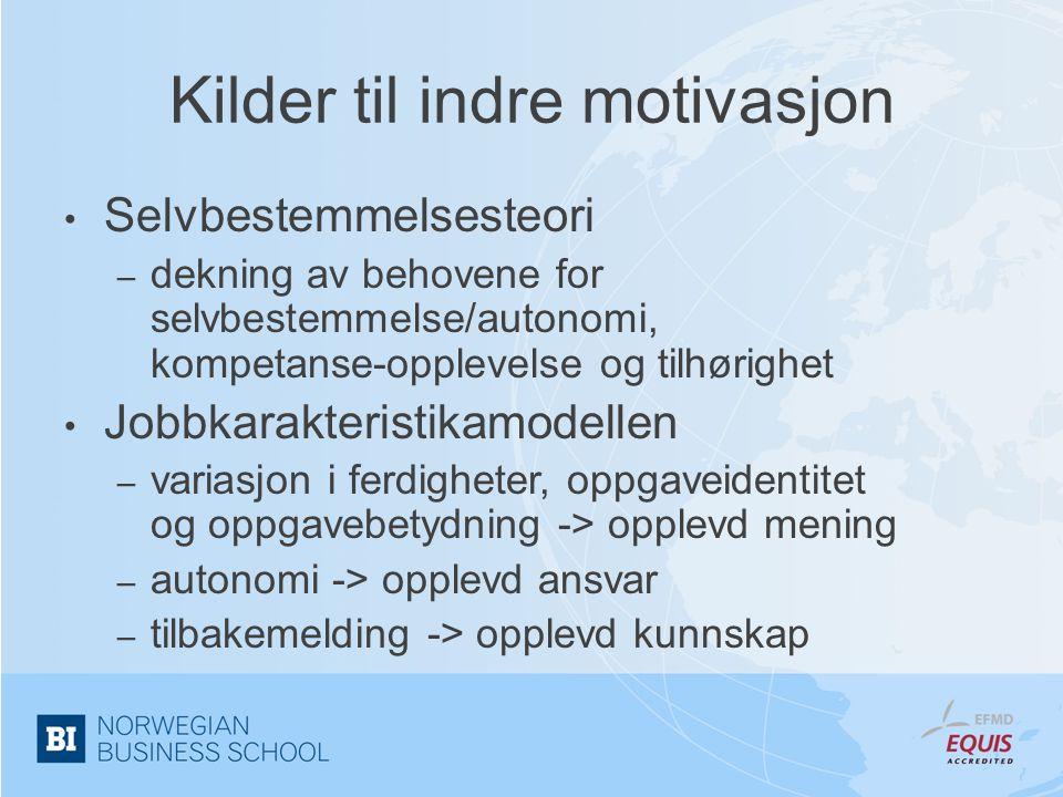 Kilder til indre motivasjon • Selvbestemmelsesteori – dekning av behovene for selvbestemmelse/autonomi, kompetanse-opplevelse og tilhørighet • Jobbkar