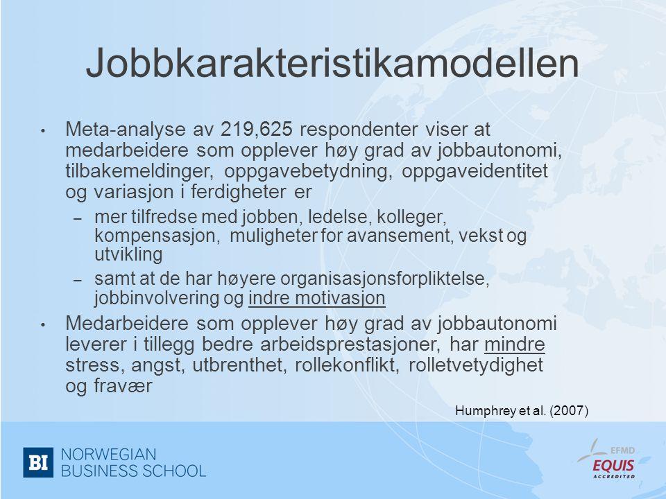 Jobbkarakteristikamodellen • Meta-analyse av 219,625 respondenter viser at medarbeidere som opplever høy grad av jobbautonomi, tilbakemeldinger, oppga