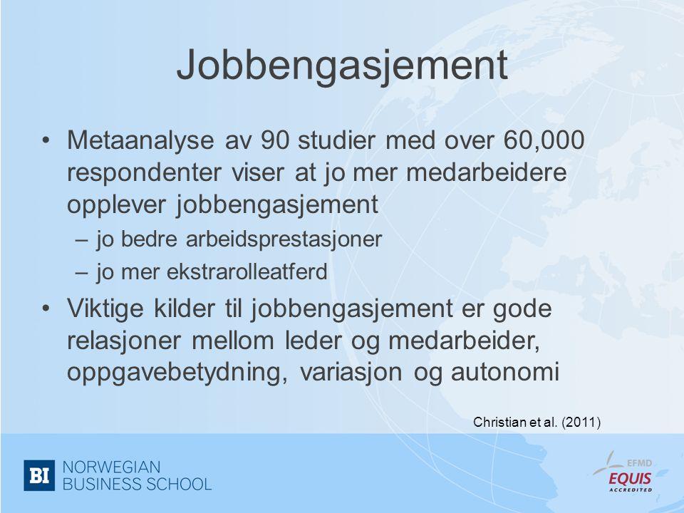 Jobbengasjement •Metaanalyse av 90 studier med over 60,000 respondenter viser at jo mer medarbeidere opplever jobbengasjement –jo bedre arbeidsprestas