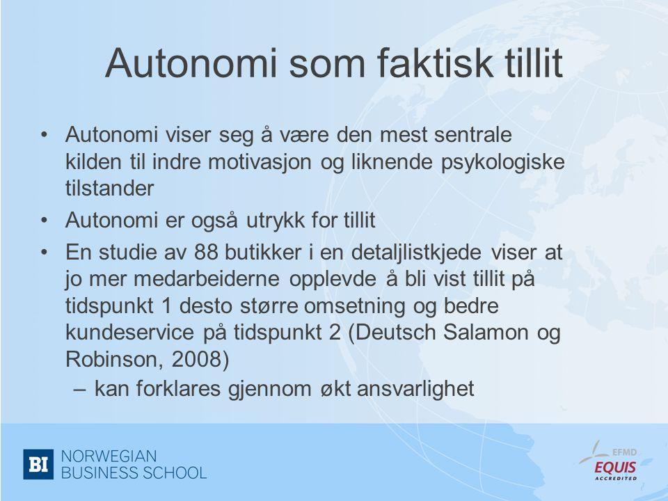 Autonomi som faktisk tillit •Autonomi viser seg å være den mest sentrale kilden til indre motivasjon og liknende psykologiske tilstander •Autonomi er