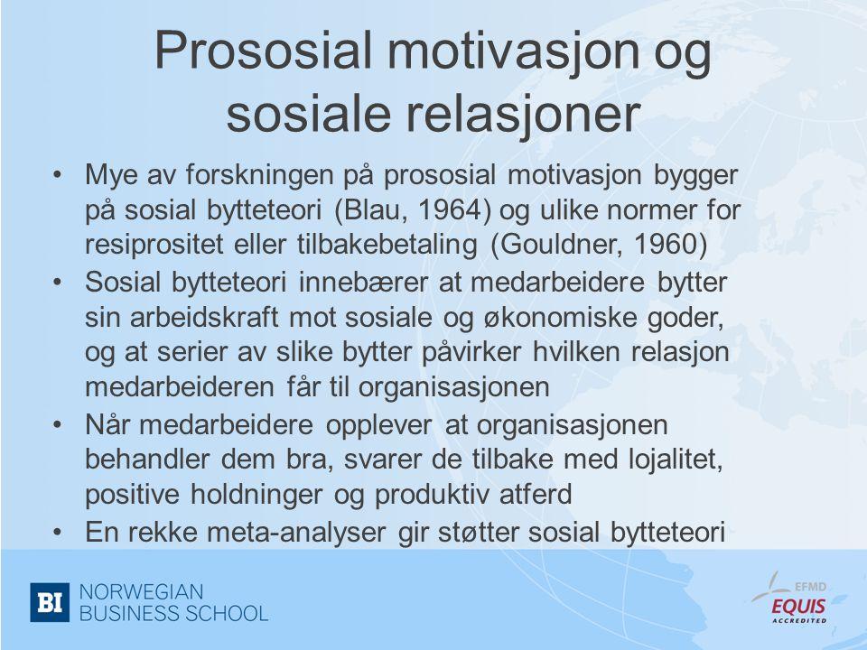 Prososial motivasjon og sosiale relasjoner •Mye av forskningen på prososial motivasjon bygger på sosial bytteteori (Blau, 1964) og ulike normer for re