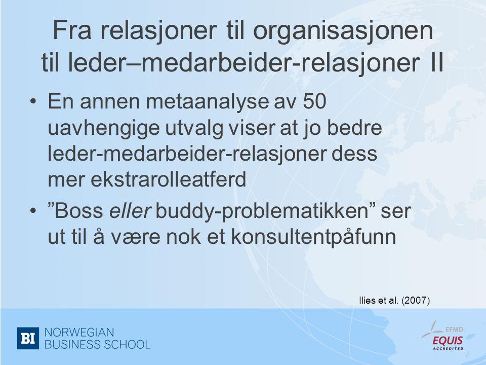 Fra relasjoner til organisasjonen til leder–medarbeider-relasjoner II •En annen metaanalyse av 50 uavhengige utvalg viser at jo bedre leder-medarbeide