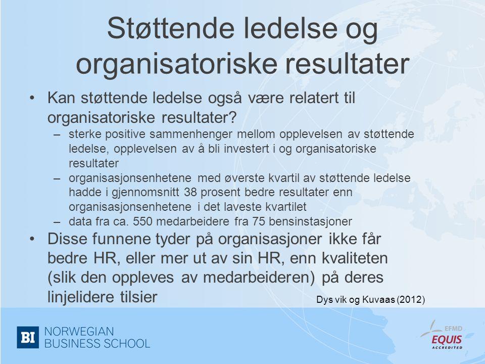 Støttende ledelse og organisatoriske resultater •Kan støttende ledelse også være relatert til organisatoriske resultater? –sterke positive sammenhenge