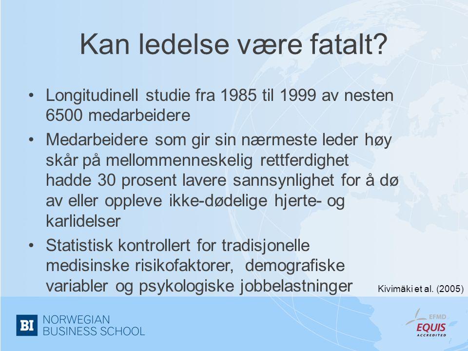 Kan ledelse være fatalt? •Longitudinell studie fra 1985 til 1999 av nesten 6500 medarbeidere •Medarbeidere som gir sin nærmeste leder høy skår på mell