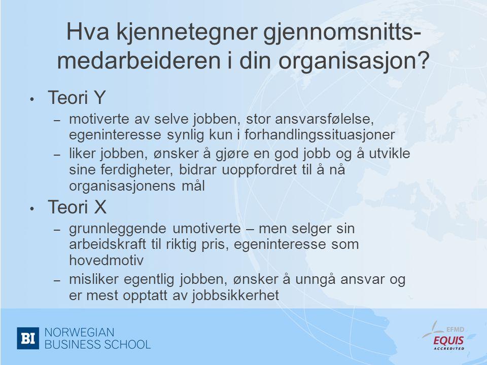 Hva kjennetegner gjennomsnitts- medarbeideren i din organisasjon? • Teori Y – motiverte av selve jobben, stor ansvarsfølelse, egeninteresse synlig kun