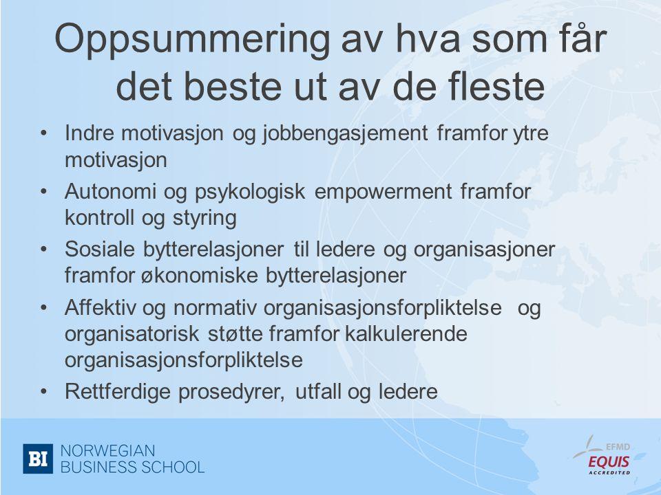 Oppsummering av hva som får det beste ut av de fleste •Indre motivasjon og jobbengasjement framfor ytre motivasjon •Autonomi og psykologisk empowermen