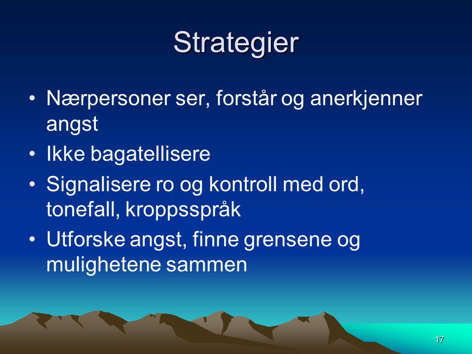 Strategier •Nærpersoner ser, forstår og anerkjenner angst •Ikke bagatellisere •Signalisere ro og kontroll med ord, tonefall, kroppsspråk •Utforske ang