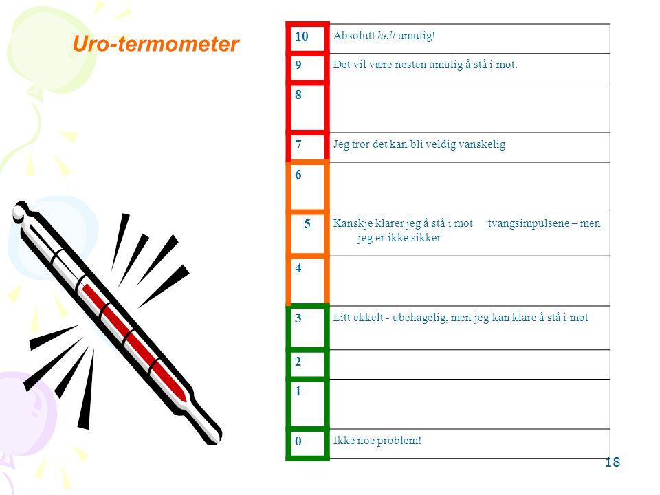 18 Uro-termometer 10 Absolutt helt umulig! 9 Det vil være nesten umulig å stå i mot. 8 7 Jeg tror det kan bli veldig vanskelig 6 5 Kanskje klarer jeg
