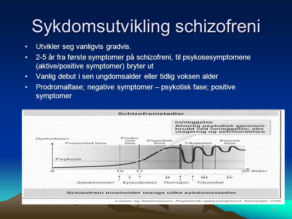 7 Sykdomsutvikling schizofreni •Utvikler seg vanligvis gradvis. •2-5 år fra første symptomer på schizofreni, til psykosesymptomene (aktive/positive sy