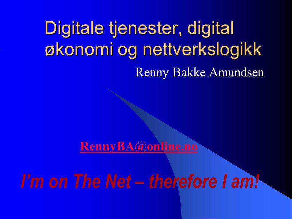 31/08/2005 INF2450 Teknologi, business og samfunn 2 RennyBA@online.no  Siviløkonom BI 1981  InterNettverks Evangelist  Sales and Aplications Engineer (KV -81)  Bedriftsrådgiver (STI -85)  Supportsjef (Mycron/Mysoft -93)  IT & Administrasjonssjef (NIF -02)  eMomentum.no  CEO – EUCIP Norge as  Dataforeningen – L&S, FFI