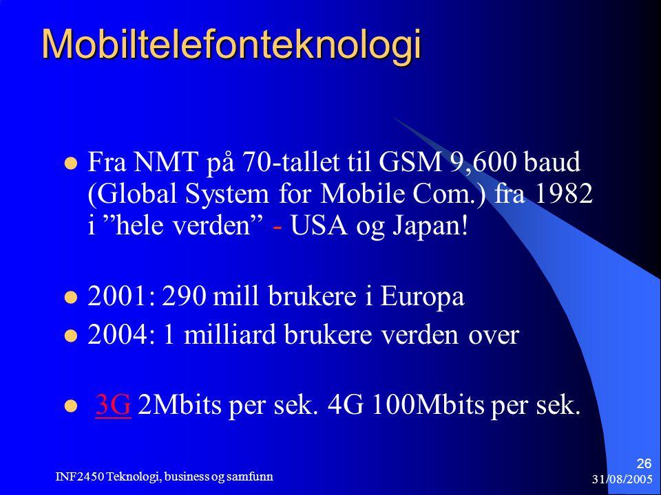 31/08/2005 INF2450 Teknologi, business og samfunn 26 Mobiltelefonteknologi  Fra NMT på 70-tallet til GSM 9,600 baud (Global System for Mobile Com.) f