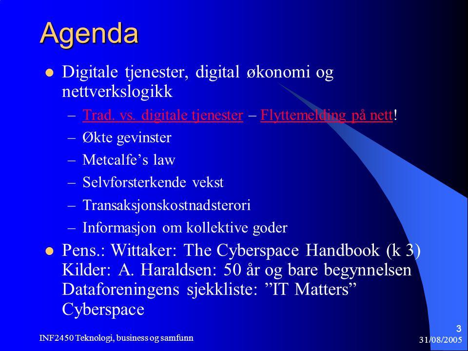 31/08/2005 INF2450 Teknologi, business og samfunn 3 Agenda  Digitale tjenester, digital økonomi og nettverkslogikk –Trad. vs. digitale tjenester – Fl