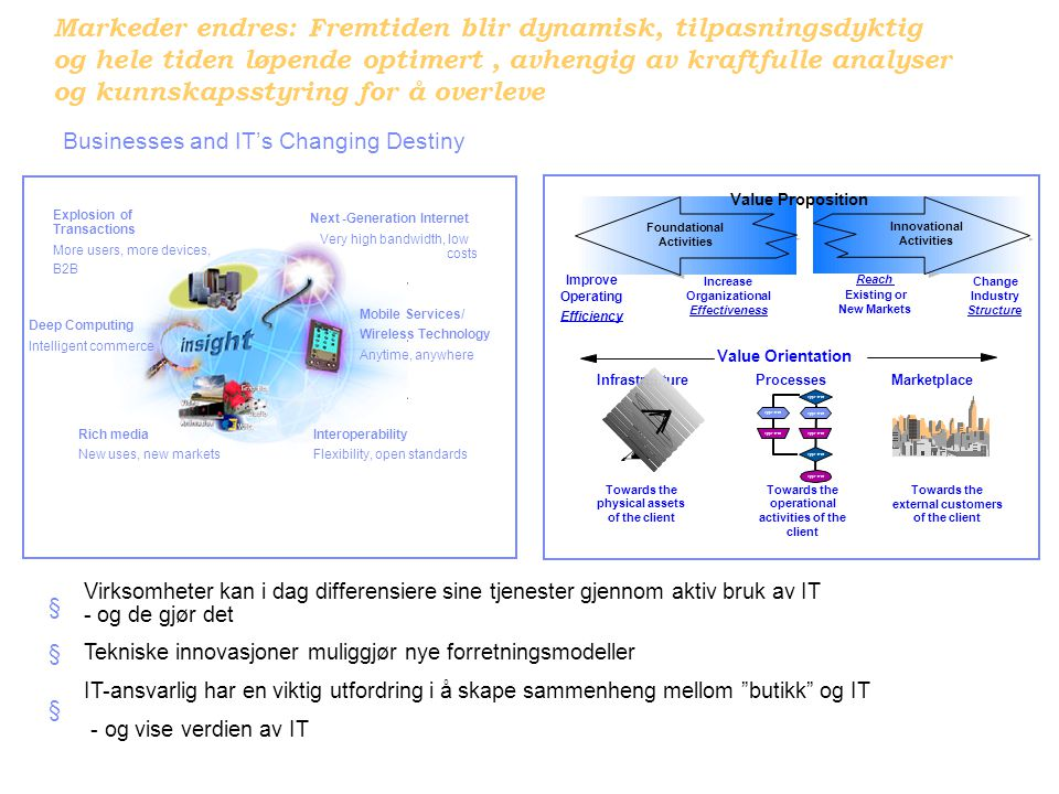 31/08/2005 INF2450 Teknologi, business og samfunn 7 The New Economy  … With the bursting of the dotcom bubble – dramatically in the cases of the collapse of WorldCom, or the crash in value of AOL Time Warner – the worst excesses (and fantasies) of this new economy have been trashed.  … larger absolute number of people are more mobile across boundaries – geography, skill, language, industry etc.