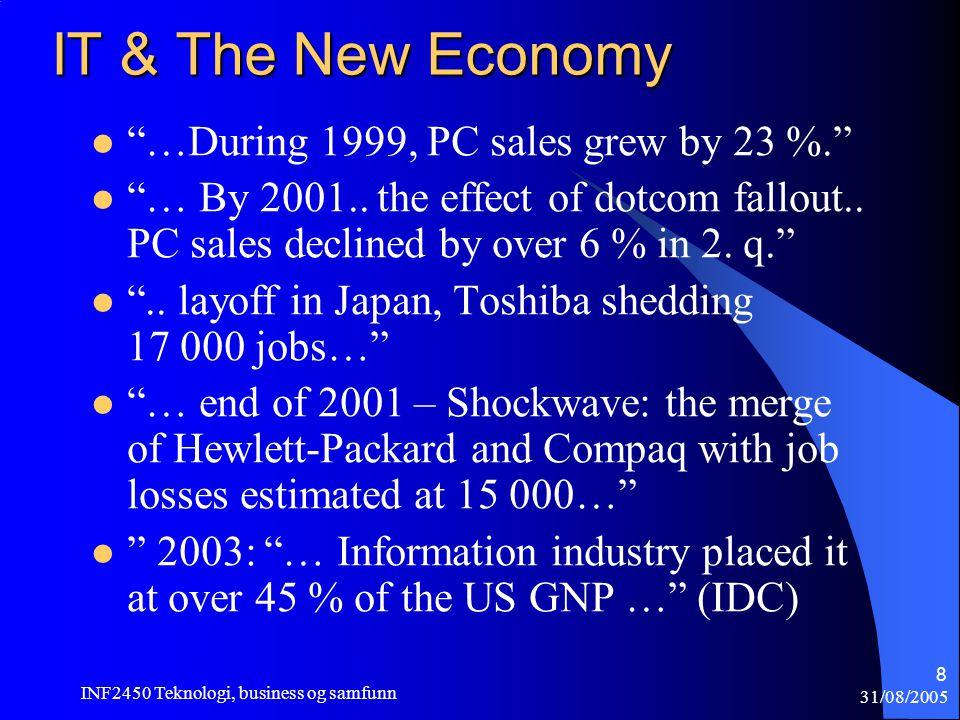 31/08/2005 INF2450 Teknologi, business og samfunn 9 The E-transformation