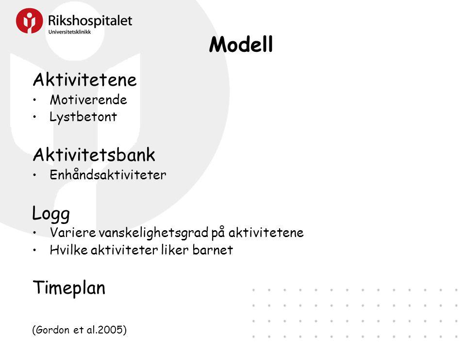 Modell Aktivitetene •Motiverende •Lystbetont Aktivitetsbank •Enhåndsaktiviteter Logg •Variere vanskelighetsgrad på aktivitetene •Hvilke aktiviteter liker barnet Timeplan (Gordon et al.2005)
